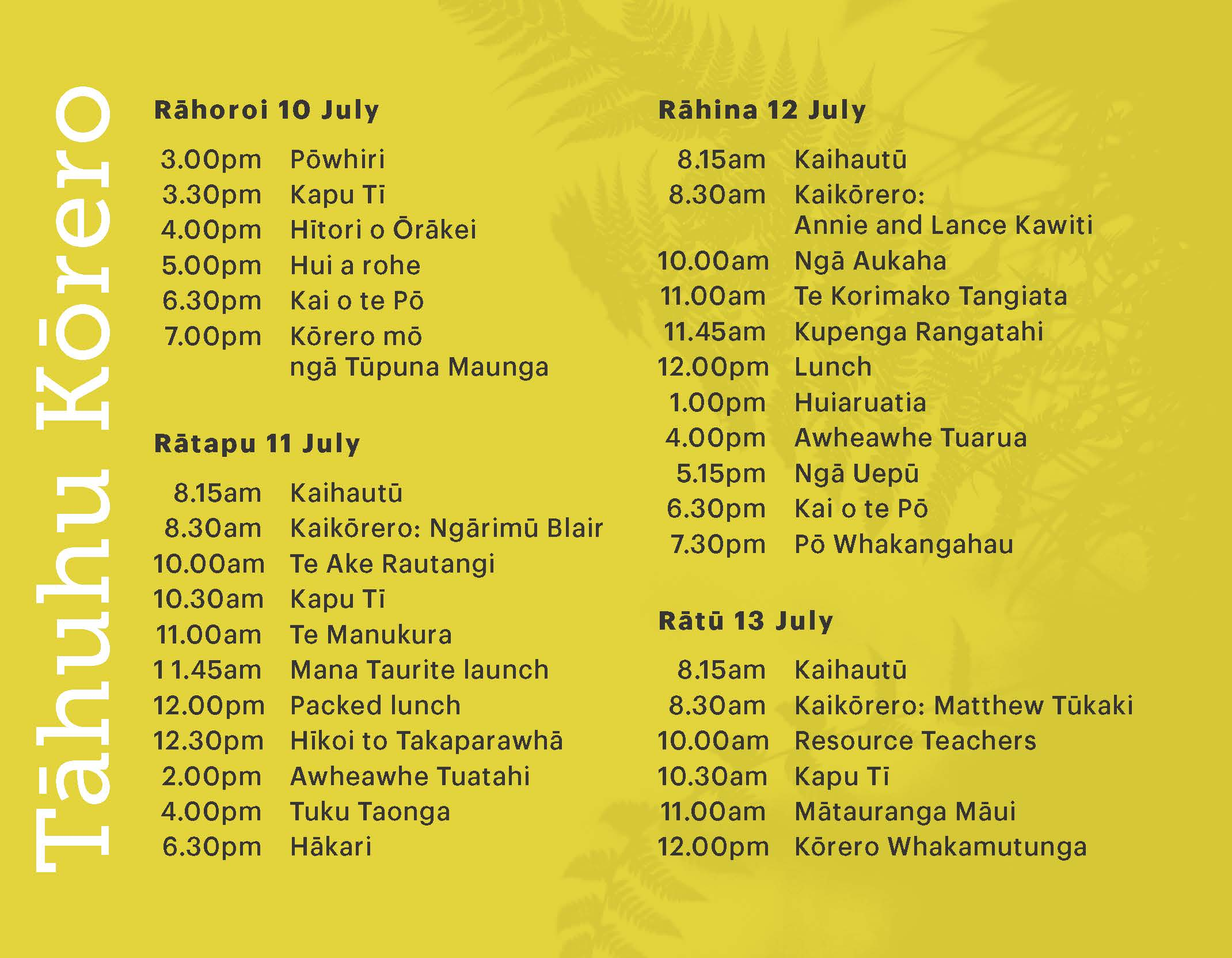 Timetable from tag
